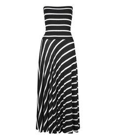 Loving this Black & White Stripe Convertible Maxi Dress on #zulily! #zulilyfinds