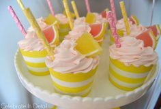 Yummy cupcakes at a pink lemonade birthday party! See more party ideas at CatchMyParty.com!