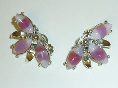 Vintage Pink Striped Givre' Art Glass Earrings by labaublesandbags, $22.00