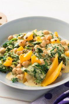 Schnelles Spinat-Curry: Rezept mit Kichererbsen und Mango - Diätrezepte - bildderfrau.de