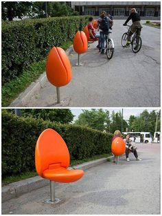 Flowering chairs | A Tulip Seat for Public Spaces, in Holland // tilt the design 90degrees to prevent wet seats and add lights under seats to double as ambient light source