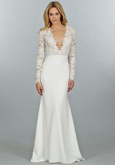 Tara Keely v neck lace sleeve wedding dress