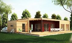Casa de lemn IMMO Casa in legno Immo Immo wooden house model www.tranaval.ro Prefab Homes, Modular Homes, Shiping Container Homes, Low Budget House, Fachada Colonial, Small House Design, Home Deco, Modern Architecture, Bungalow