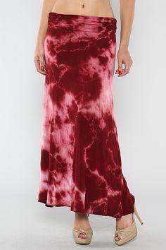 Wine Tye Dye Maxi Skirt