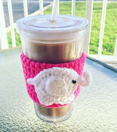 Hot Pink and White Elephant Coffee Coozie A personal favorite from my Etsy shop https://www.etsy.com/listing/286015135/elephant-coffee-coozie