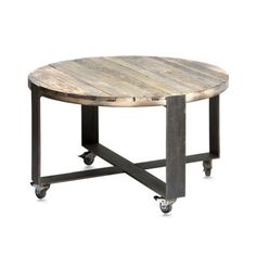 Деревянный винтажный круглый стол на колесах, фанера (Old Round Crosstripe…