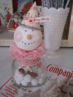 Happy Snowman paper clay jar topper, link to tutorial