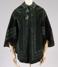 Woman's Cloak    Made in United States  1860    Artist/maker unknown, American    Green silk velvet