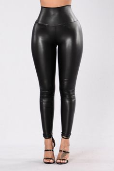- High Waisted - Thick Waistband - Faux Leather - Skinny Leg - Made in USA - 90% Polyester 10% Spandex