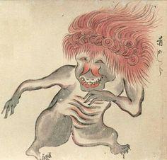 Akagashira (赤頭, Akagashira) is a yōkai from Japanese folklore. Akagashira is mentioned in the Hyakki Yagyo Emaki. Myths & Monsters, Scary Monsters, Japanese Prints, Japanese Art, Japanese Mythology, Japanese Monster, Japanese Illustration, Medieval Art, Woodblock Print
