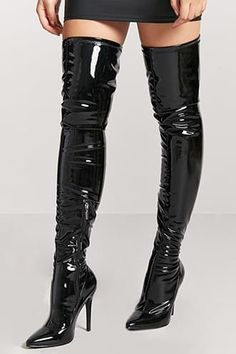 e1b78af5743d Faux Patent Leather Thigh-High Boots Stiletto Heels