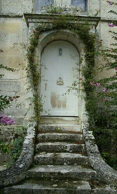 """White Castle door """"Chateau de Terre-Neuve"""" in Vendome, France. - by lilidebretagne"""