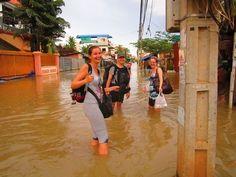 floods in Siem Reap in Cambodia in October 2011