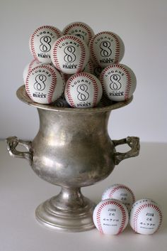 Notable Nest: Baseball Party Invitations on Real Baseballs