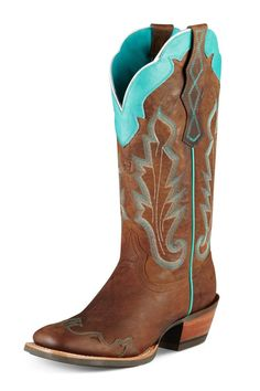 cute brown cow girls boots | Ariat Caballera Turquoise Wingtip Square Toe Cowgirl Boots. I really love the touch of color it gives.   # Maria Outfit