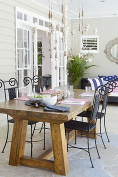 hamptons style outdoor table.jpg (400×600) I like the doors and look (not table) of entrance to porch