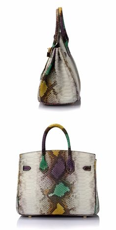 Genuine Leather Bag With Serpentine Pattern
