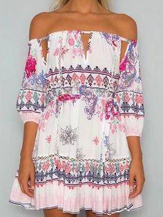 Polychrome Off Shoulder Tribal Print Tie Waist Dress