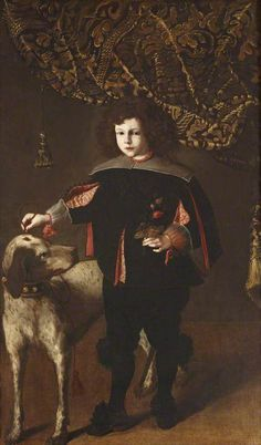 A Boy with a Dog attributed to Spanish School