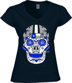 Cowboys Womens Shirt- Sugar Skull - Navy