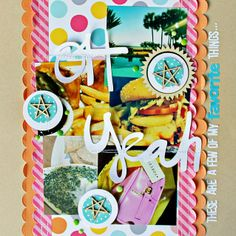 Lawn Fawn - Hello Sunshine and Let's Polka collection papers, Stitched Scalloped Borders Lawn Cuts dies, Feather Turquoise Narrators alpha stickers _ Oh-Yeah-Layout by Melissa for Lawn Fawn Design Team