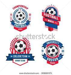Football badge logo template designsoccer teamvector illuatration vector set badges logos red for football teams and tournaments championships soccer isolated on maxwellsz