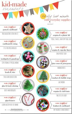 TOTALLY last minute kid-made crafts/ornaments - all require 2 or less materials!!! | @mamamissblog #kidmadecrafts #kidmadechristmas #kidmade...