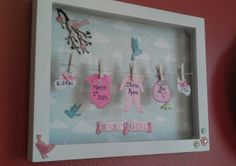 Baby Stats Clothesline Shadow Box with Kite by ClotheslineCrafts