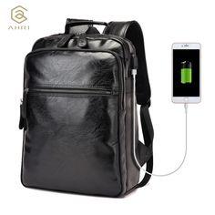 Backpacks  AHRI Men Business Casual Backpacks for School Travel Bag Black PU Leather Men's Fashion Shoulder Bags Vintage Boys Men Backpack  *** En cliquant sur l'image vous mènera à trouver produit similaire