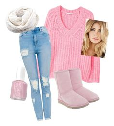 Set 3: Winter Pink Outfit by ashlynnmay on Polyvore featuring polyvore fashion style MANGO UGG Essie clothing