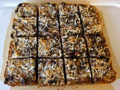 Magic Cookie Bars -- uses almond flour.  For anti-candida diet, substitue the sweetener, omit the chocolate :-( and add more nuts instead.