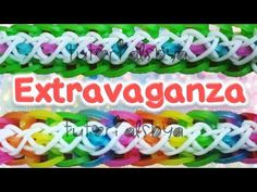 Rainbow Loom Extravaganza Bracelet. Designed and loomed by TutorialsbyA. Click photo for YouTube tutorial. 03/28/14