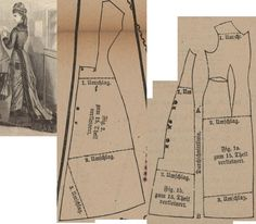 Der Bazar 1878: Summer walking dress from blue-white striped zephyre and blue zephyre accents; 1a. front part, 1b. side gore, 2. back part in half size