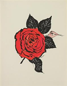 ANDY WARHOL  Untitled (Red Rose), c. 1955