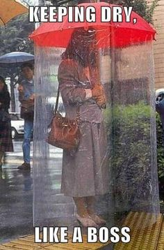 Keeping dry like a boss meme - http://www.jokideo.com/