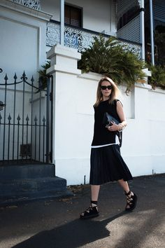 black, celling, sandals, pleated, skirt, oscar, top, white, shirt, bassike, givenchy, obsidia, bag, sunglasses, oracle, fox, outfit