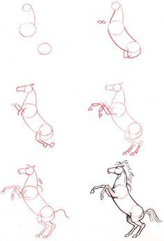Dessiner un cheval : cheval cabre