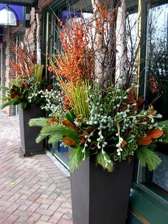 Charming Fall Container Garden For Front Porch Ideas. Oct 18 2019 finds lots of ideas for beautiful container gardens for your porch from hanging baskets to interesting containers … Winter Planter, Fall Planters, Outdoor Planters, Outdoor Gardens, Garden Urns, Garden Planters, Herb Garden, Winter Container Gardening, Container Plants