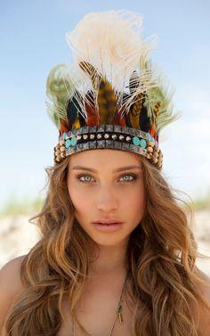 Hannah Davis From: Virgin Islands Victorias Secret Models, Victoria Secret, Headdress, Headpiece, Hannah Davis Jeter, Girls Hannah, Feather Crown, Boho Gypsy, Gypsy Soul