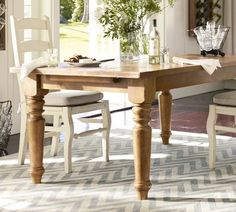 Reclaimed Teak Dining Table With Metal Trestle For The Home - Pottery barn pine table
