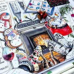 #моя_первая_неделя_января ! Кто не увидел или не понял , да да ) по середине лапы моего Кекса ! ______________ #copic #copicmarkers #copicsketch #draw #newyear #новыйгод #камин #скетч #journal #sketchbook #maxgoodz_largewhite #кот #art #illustration #иллюстрация