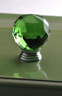 1.2 inches Green Glass Crystal Knobs Diamond / Kitchen Cabinet Knobs Pulls Handles / Dresser Drawer Knob Hardware