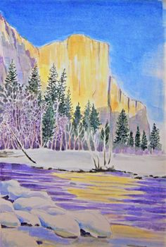 A watercolor of Yosemite scenic gems an original by Merts or El.