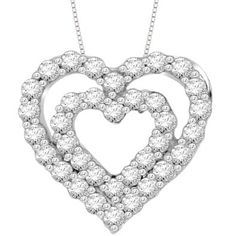 Sterling Silver Diamond Fashion Double Heart Pendant Necklace (1/6   cttw, H-I Color, I2-I3 Clarity), 18""