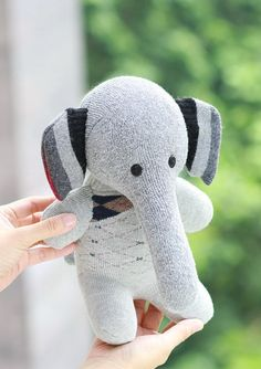 Handmade Stuffed Elephant for kids Stuffed Animal baby Plush Toy sock doll Ready…
