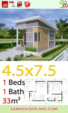 Small House Plans with One Bedroom Shed roof - Sam House Plans house conversion house ideas house interior house interior floor plans house interior small house plans Little House Plans, Modern House Plans, Small House Plans, Tiny House Cabin, Tiny House Living, Cottage House, House Layout Plans, House Layouts, House Plans Mansion