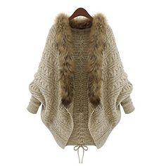kvinners løse cape ermet pels hals – NOK kr. 447