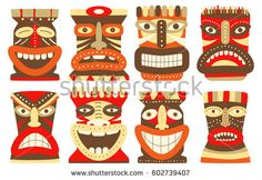 Collection of tiki tribal mask. Set for scrapbooking. Vector template mask for greeting,