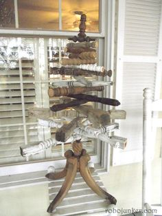 Spindle Christmas Tree - with a finial topper & table legs.