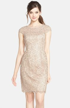 Free shipping and returns on Adrianna Papell Lace Shift Dress at Nordstrom.com. A lace overlay fashions the cap sleeves and sheer yoke of a delicate shift dress lending lustrous dimension from the rounded neck to the scalloped hem.